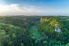 Free Bedkowska Valley, Late Afternoon From The Sky. Royalty Free Stock Image - 127883586