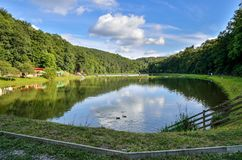 Pond in beautiful jurassic valley. Stock Image
