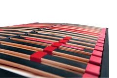 Bedlatjes voor latoflex - Bedkader en de oppervlakteverstand van de matrasbasis Stock Foto's