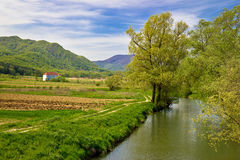 Bednja river and Bela castle springtime view Stock Photo
