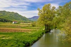 Bednja river and Bela castle springtime view Stock Photo