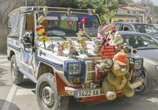 BEDOIN, FRANCE - AUGUST 3, 2016: Plush toys decoration on a jeep for tourists in Provence. Mont Ventoux Royalty Free Stock Photos