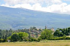 Bedoin with Mont Ventoux, Provence. Bedoin with Mont Ventoux, typical village in Provence, France Stock Photography