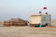 Bedoiun tent and a trailer in Qatar Stock Image