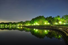Bedok Reservoir with trees by night Stock Image