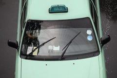 Bedok, Singapur - oct 23,2010: Taxi que conduce en el día lluvioso Fotografía de archivo libre de regalías