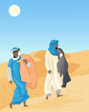 Bedouin. An illustration of two bedouin mendressed in traditional robes walking through the desert sand dunes Royalty Free Stock Photo
