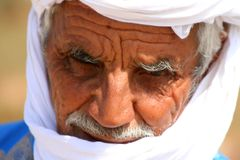 Bedouin in blue and white Royalty Free Stock Photography
