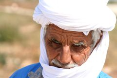 Bedouin in blue and white Stock Photos