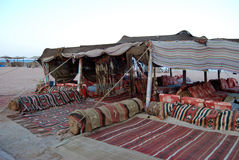 Bedouin cafe, Egypt. Bedouin outdoor cafe on the beach in Taba, Egypt Royalty Free Stock Images