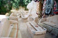 Bedouin cafe. Tunisia. Bedouin cafe in Tamerza desert oasis. Tunisia royalty free stock photos