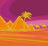 Bedouin camel caravan in wild africa. Landscape illustration Stock Photos