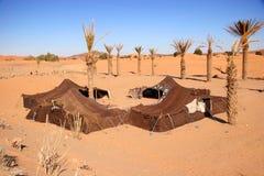 Bedouin camp. In the sahara desert, Morocco royalty free stock image