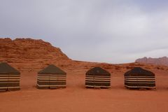 Bedouin camp site in Jordanian desert Wadi Rum, Jordan. Wadi Rum has led to its designation as a UNESCO World Heritage Site. stock images