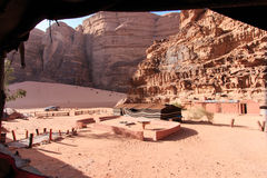 Bedouin camp in the Wadi Rum desert, Jordan Royalty Free Stock Photo