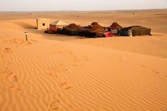 Bedouin desert camp. Near sanddunes of Merzouga, Morocco royalty free stock images