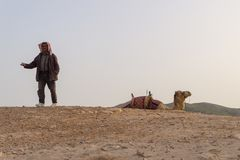 a Bedouin in the desert, Israel royalty free stock images