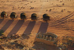 Bedouin kamp in Wadi Rum-woestijn, Jordanië Stock Fotografie