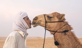 Bedouin man kissing his camel. Madinat Zayed, United Arab Emirates, December 15th, 2017: arab man with his camel at The Million Street where camels get bought stock photo
