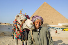 Bedouin near pyramid Royalty Free Stock Photo
