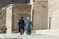 Bedouin and police man at the Philae Temple Stock Photo