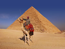 Bedouin and Pyramid. Bedouin and camel in front of the Great Pyramid at Giza royalty free stock photography