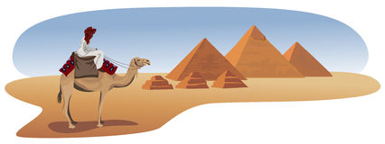 Bedouin and the Pyramids Stock Image