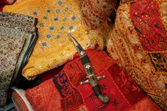 Bedouin Rug and Knife. Bedouin materials with Traditional Knife royalty free stock images