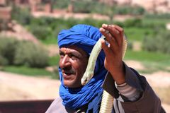Bedouin with snake Stock Images