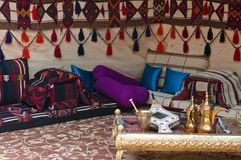Bedouin Tent. A luxuriously appointed Beduoin tent offers relaxation and entertainment in the Middle East stock image