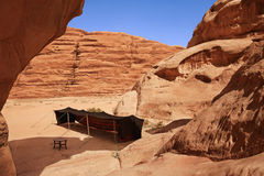 A bedouin tent in a rock valley Stock Photography