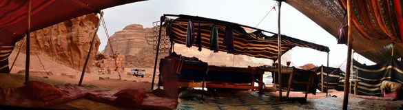 The Bedouin Tent at Lawrence House, Wadi Rum, Jordan. The Bedouin Tent where visitors to Lawrence of Arabia`s house are offered shelter and hospitality, spicy royalty free stock photos