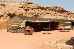 Bedouin tents. Bedouin house, handmade from goat hair, Wadi Rum, in the desert of south Jordan stock photography