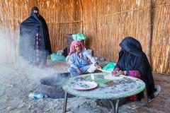 Bedouin village on desert in Egypt Stock Photo