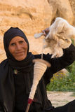 Bedouin woman weaving Stock Images