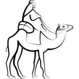 Bedouine Riding Camel. Bedouin Riding Camel Through Desert Royalty Free Stock Image