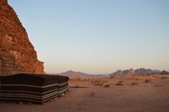 Bedouine tents Wadi Rum Jordan. Bedouine tents In the desert of Wadi Rum in Jordan Stock Photo