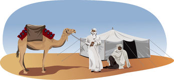 Bedouins. Background illustration with bedouins and camel Stock Photos