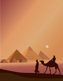 Bedouins And The Pyramids Royalty Free Stock Photos