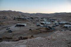 Bedouins camp on sunset royalty free stock photos