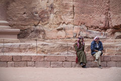 Bedouins dressed traditionally. Talking in Petra, Jordan Royalty Free Stock Image