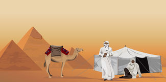 Bedouins and the Pyramids Stock Photography