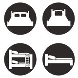 Bedpictogrammen voor herbergen en hotels worden geplaatst dat vector illustratie