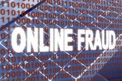 bedrägeri för binär kod online över text Royaltyfria Foton