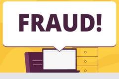 Bedrägeri för ordhandstiltext Affärsidé för att brottsligt bedrägeri ska få finansiellt eller demonstratingal enormt vinstsmellan royaltyfri illustrationer