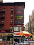 Bedrägeri Wall Street korruption, NYC, NY, USA arkivfoton
