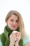bedrövlig kvinna för influensa Arkivfoto
