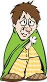 Bedrövlig man med en förkylning Arkivbild
