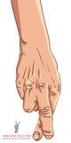 Bedragarehand med korsade fingrar, detaljerad vektorillustration vektor illustrationer