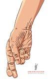 Bedragarehand med korsade fingrar, detaljerad vektorillustration Royaltyfri Bild
